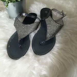 Jelly  sandals with rhinestones L 9/10